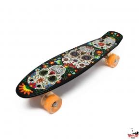 Penny Board Черный черепа со светящимися колесами