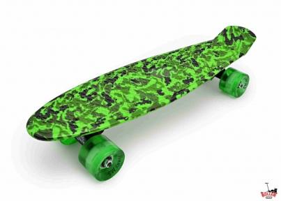 Penny Board зеленый хаки со светящимися колесами