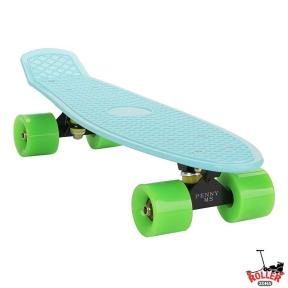 Penny Board Голубой с зелеными колесами.