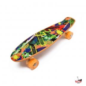 Penny Board оранжевый абстракция со светящимися колесами