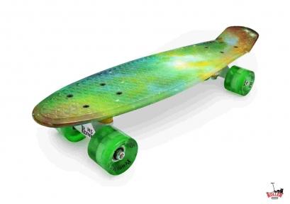 Penny Board зеленая абстракция со светящимися колесами