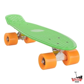 Penny Board Зеленый с оранжевыми колесами.