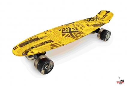 Penny Board желтая газета со светящимися колесами