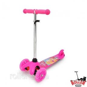 Самокат Maraton Mini розовый Барби со светящимися колесами