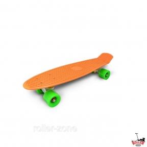 Penny Board Оранжевый с зелеными колесами.