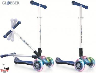 Самокат Globber elite f my free FOLD UP light  со светящейся платформой и светящ. колес DARK BLUE