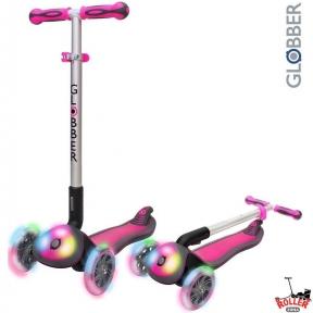 Самокат Globber elite f my free FOLD UP light  со светящейся платформой и колесами, RHODAMINE розовый