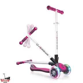Самокат Globber elite f my free FOLD UP light со светящимися колесами Розовый