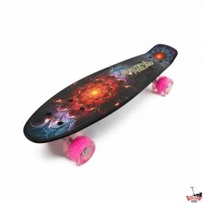 Penny Board черный космический цветок со светящимися колесами
