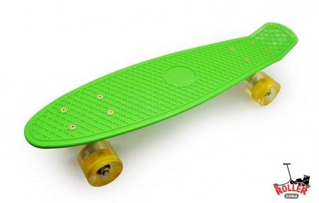 Penny Board Зеленый со светящимися колесами