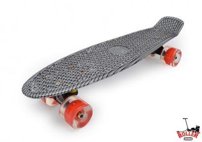 Penny Board Карбон черный со светящимися колесами